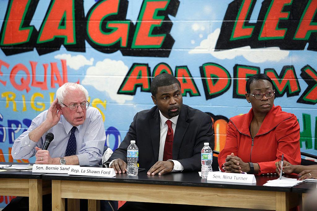 illinois State Representative La Shawn Ford (D-IL), center, Democratic presidential candidate U.S. Senator Bernie Sanders (I-VT), left, and former Ohio State Senator Nina Turner